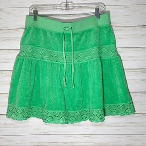 NWT Juicy Couture |  Green Terry Crochet Skirt | L